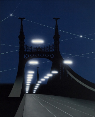 Bridge with UFOs, 2006125x105 cm, acrylic on canvas© Regős István