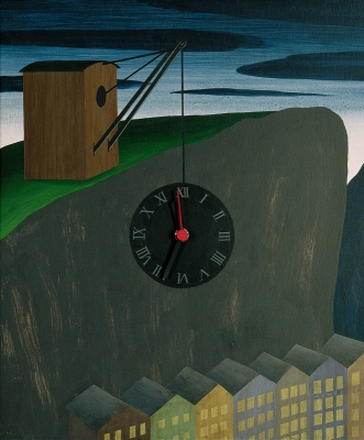 Salzburg Clock, 199245x32 cm, mixed technique© Regős István