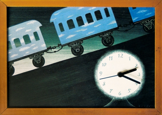 Morning Train, 199134x33 cm, mixed technique© Regős István