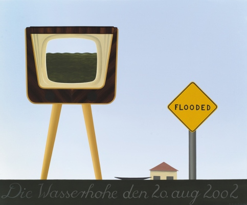 Flood-vision, 200290x110 cm, acrylic on canvas© Regős István